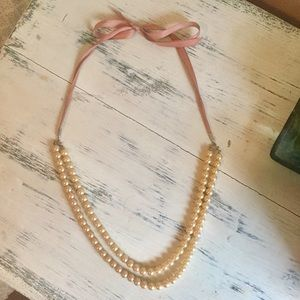 Ann Taylor Loft double pearl strand necklace